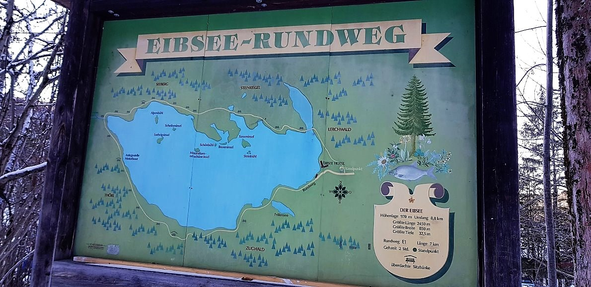 Eibsee, Hinweisschild am Parkplatz nahe der Zugspitzseilbahn. (Foto: Knut Kuckel)